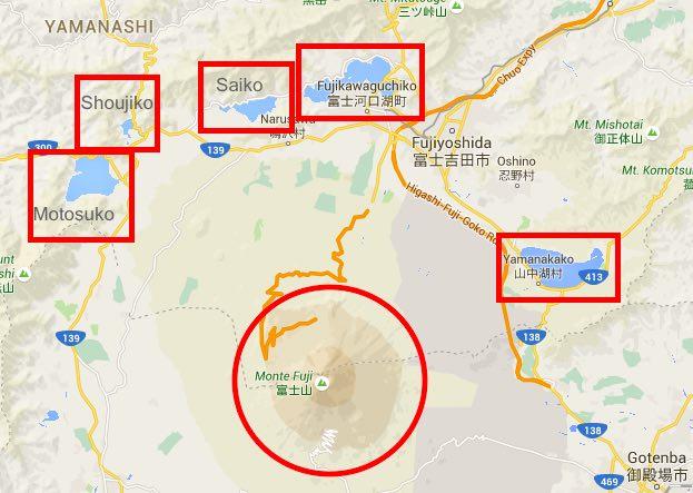 cinco lagos do Fuji