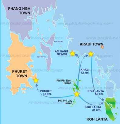 mapa krabi ao nang phi phi phuket
