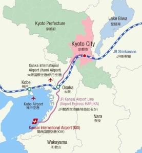 mapa regiao Kyoto Osaka